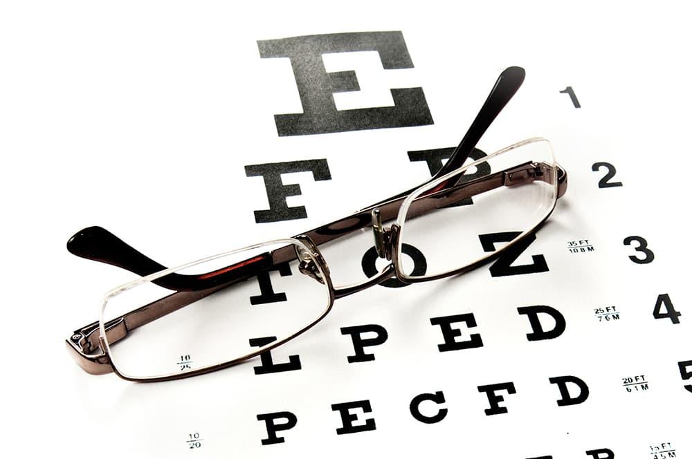 Eye Glasses on Eye Chart