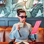 Stylish woman in cafe